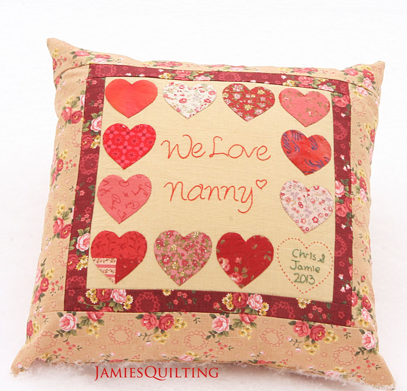 Love House Nanny Heart Pillow Case Finished Quilt House Warming Birthday Gift