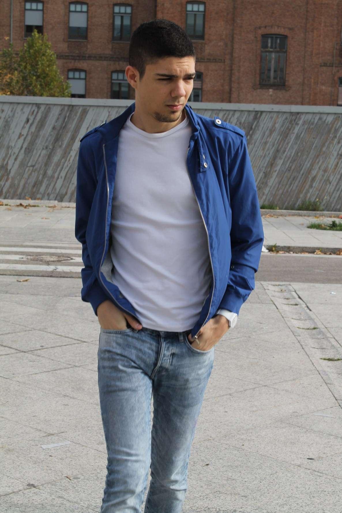 look converse azules hombre