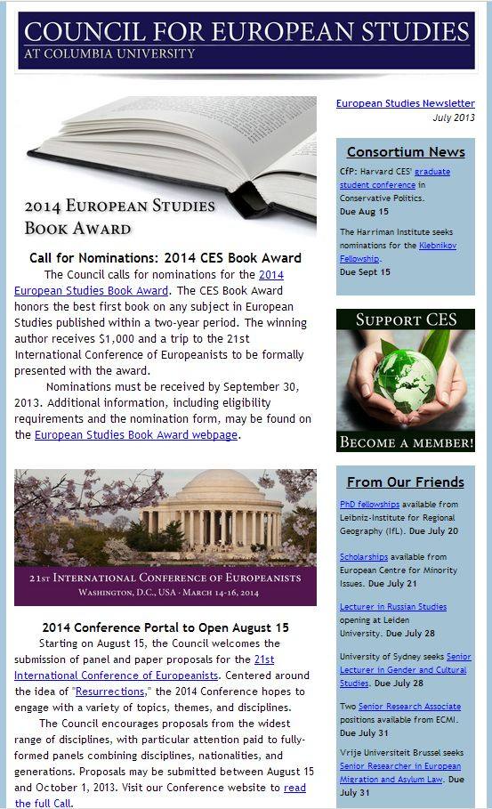 CES European Studies Newsletter