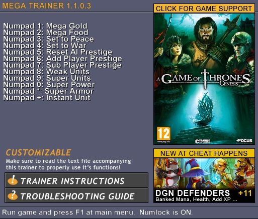 5843047066724 A Game of Thrones: Genesis 1.1.0.3 +12 Trainer