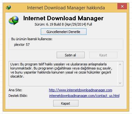 Internet Download Manager v6.19 Build 8 Final Türkçe